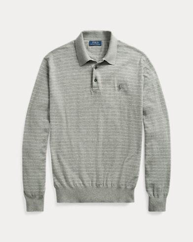 폴로 랄프로렌 Polo Ralph Lauren Striped Cotton Polo Sweater,Fawn Grey Heather