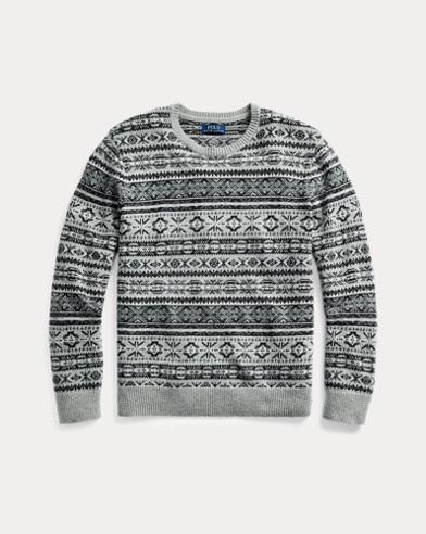 폴로 랄프로렌 맨 페어아일 코튼 블렌드 스웨터 Polo Ralph Lauren Fair Isle Cotton-Blend Sweater,Grey Fairisle