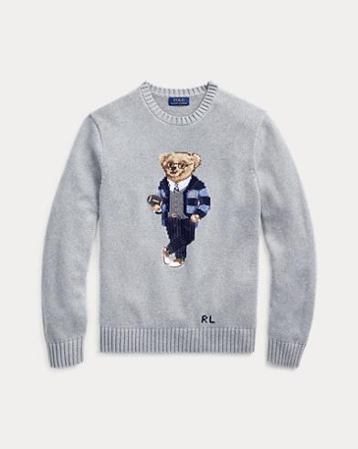 폴로 랄프로렌 맨 폴로 베어 코튼 스웨터 - 그레이 Polo Ralph Lauren Polo Bear Cotton Sweater,Grey Heather