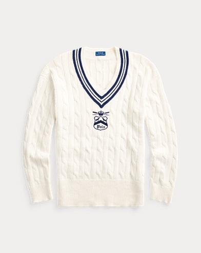 폴로 랄프로렌 맨 아이코닉 크리켓 스웨터 - 크림 Polo Ralph Lauren Embroidered Cricket Sweater,Cream/Newport Navy