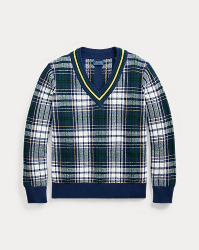 폴로 랄프로렌 Polo Ralph Lauren Tartan Wool Cricket Sweater,Bright Navy/Cream Multi