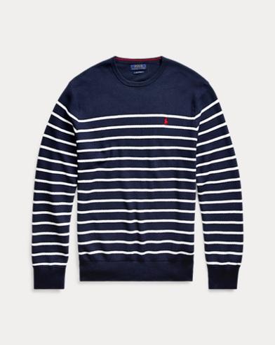 폴로 랄프로렌 Polo Ralph Lauren Striped Cotton Sweater,Newport Navy/ White