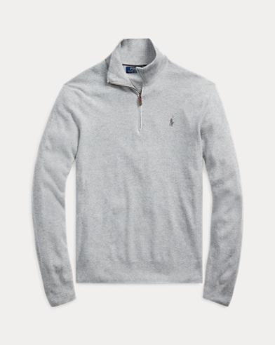 폴로 랄프로렌 Polo Ralph Lauren Tussah Silk Half-Zip Sweater,Andover Heather