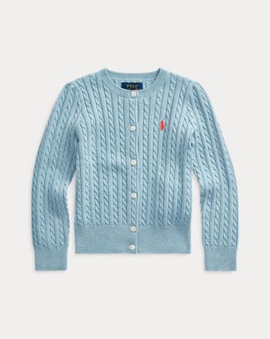 폴로 랄프로렌 여아용 가디건 Polo Ralph Lauren Cable-Knit Cotton Cardigan,Modern Blue Heather