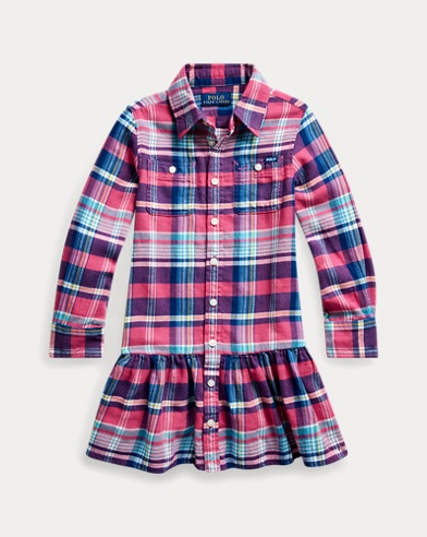 폴로 랄프로렌 여아용 셔츠원피스 Polo Ralph Lauren Plaid Cotton Twill Shirtdress,RED/BLUE MULTI