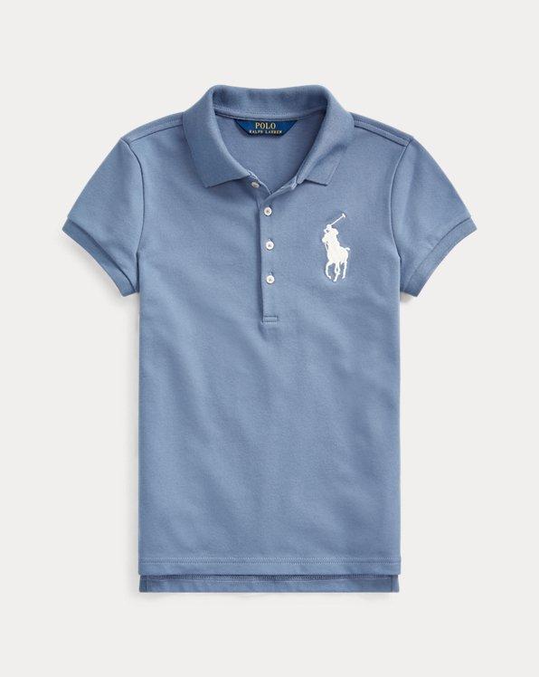 폴로 랄프로렌 걸즈 폴로 셔츠 Polo Ralph Lauren Big Pony Stretch Mesh Polo,Capri Blue