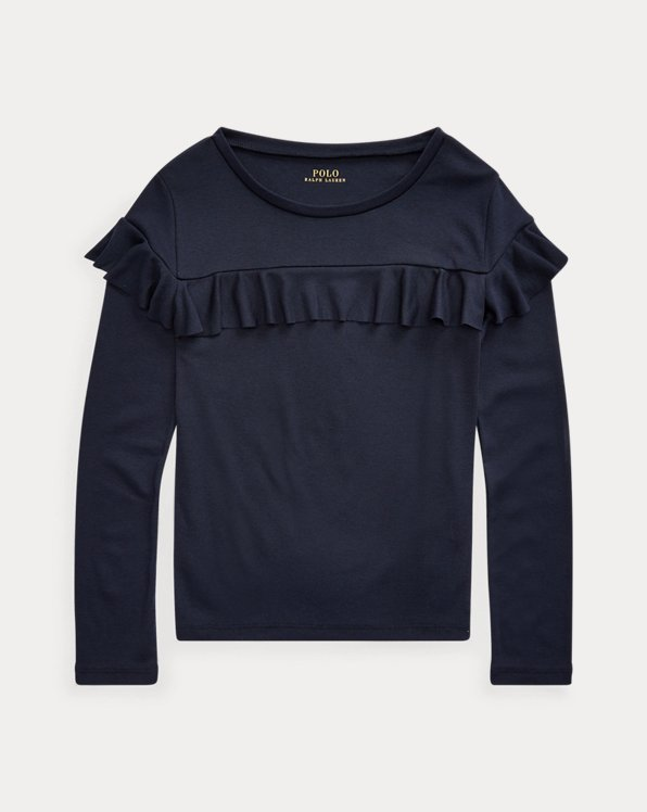폴로 랄프로렌 걸즈 러플 탑 Polo Ralph Lauren Ruffled Cotton-Blend Top,Hunter Navy