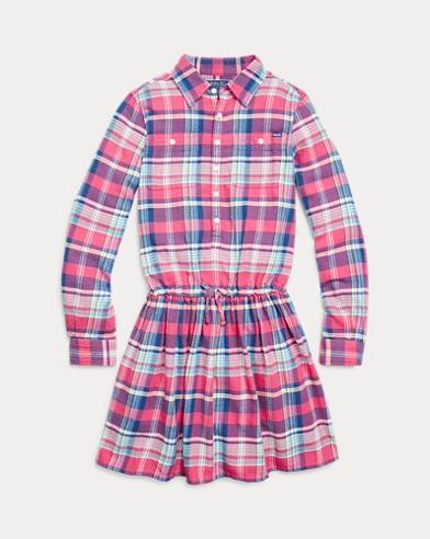 폴로 랄프로렌 여아용 셔츠 원피스 Polo Ralph Lauren Plaid Cotton Twill Shirtdress,RED/BLUE MULTI