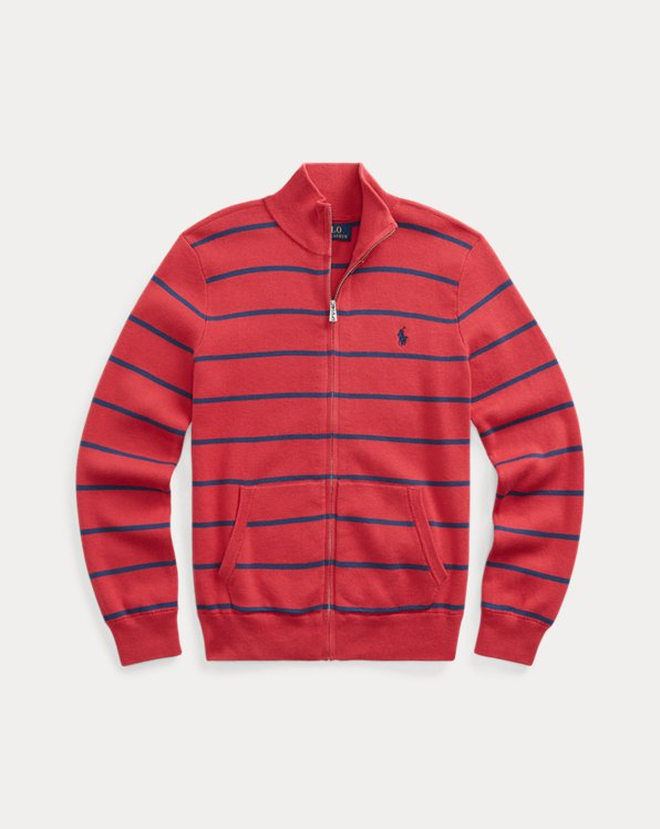 폴로 랄프로렌 보이즈 스웨터 Polo Ralph Lauren Cotton Full-Zip Sweater,Sunrise Red