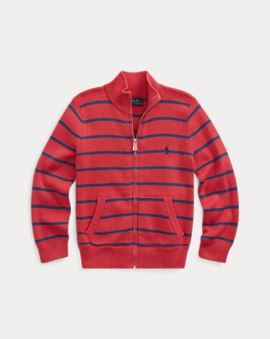 폴로 랄프로렌 남아용 스웨터 Polo Ralph Lauren Cotton Full-Zip Sweater,Sunrise Red
