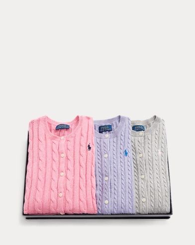 폴로 랄프로렌 여아용 가디건 세트 Polo Ralph Lauren Cardigan 3-Piece Gift Set,Multi