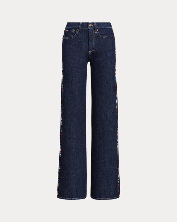 폴로 랄프로렌 Polo Ralph Lauren Ulta Stretch Wide-Leg Jean,Dark Indigo W Rainbow