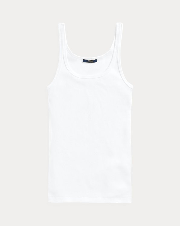 폴로 랄프로렌 우먼 탱크탑 Polo Ralph Lauren Cotton Tank Top,White
