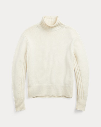 폴로 랄프로렌 우먼 골지 터틀넥 스웨터 - 크림 Polo Ralph Lauren Ribbed Turtleneck Sweater,Authentic Cream