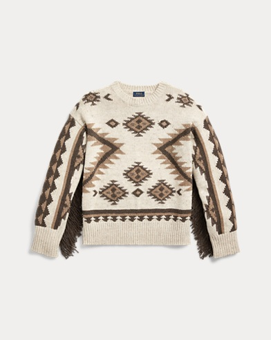 폴로 랄프로렌 우먼 프린지 트림 울 스웨터 Polo Ralph Lauren Fringe-Trim Wool Sweater,Tan Multi