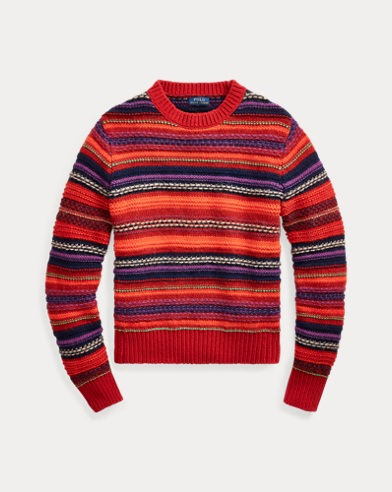 폴로 랄프로렌 우먼 울 블렌드 스트라이프 스웨터  Polo Ralph Lauren Wool-Blend Crewneck Sweater,Red Multi
