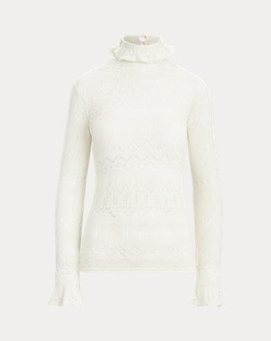 폴로 랄프로렌 우먼 포인텔 울 스웨터 - 크림 Polo Ralph Lauren Pointelle Wool Sweater,Authentic Cream