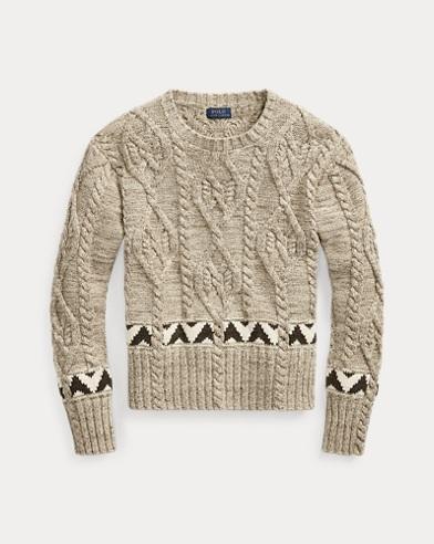 폴로 랄프로렌 우먼 니트 패턴 코튼 블렌드 스웨터 - 오트밀 Polo Ralph Lauren Knit Cotton-Blend Sweater,Oatmeal Multi