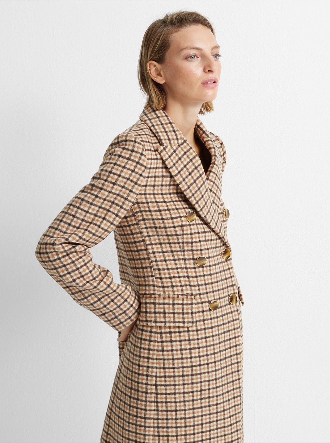 클럽 모나코 Club Monaco Jemma Plaid Coat,Camel Multi