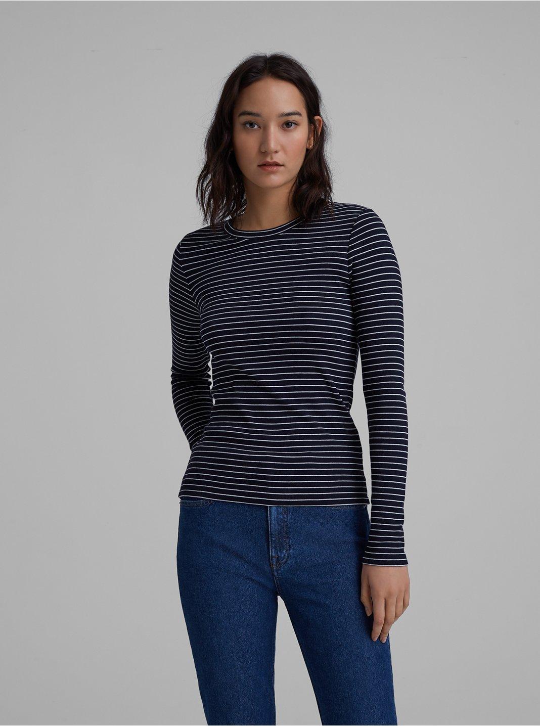 클럽 모나코 티셔츠 Club Monaco Carolena Top,Blue/White Stripe