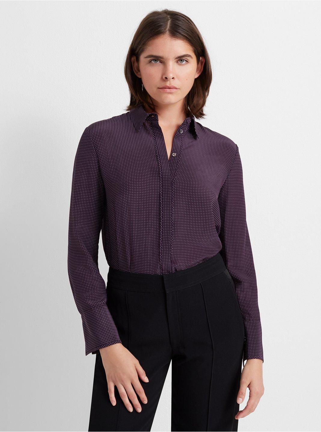 클럽 모나코 셔츠 Club Monaco Tonal Edge Silk Shirt,Purple Micro Dot