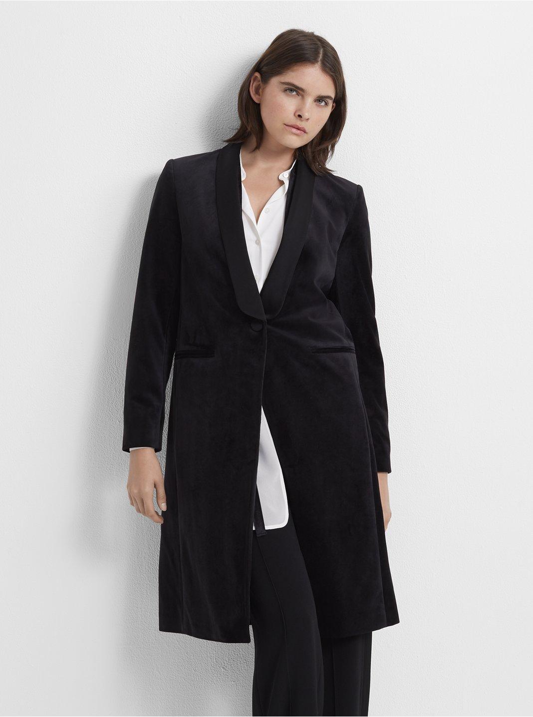 클럽 모나코 Club Monaco Velvet Tuxedo Coat,Black