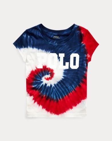폴로 랄프로렌 Polo Ralph Lauren Tie-Dyed Logo Jersey Tee,Navy Red