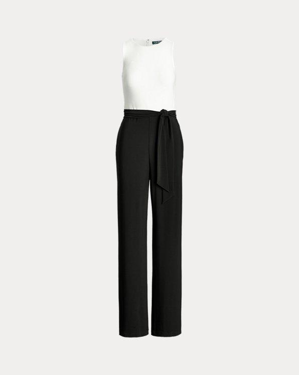 폴로 랄프로렌 Polo Ralph Lauren Two-Tone Jersey Jumpsuit,Black/Lauren White