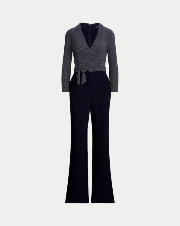 폴로 랄프로렌 Polo Ralph Lauren Color-Blocked Belted Jumpsuit,Lh Navy/Colonial Crm