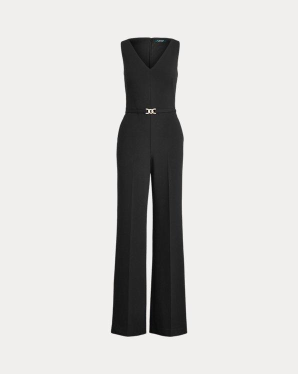 폴로 랄프로렌 Polo Ralph Lauren Belted Jersey Jumpsuit,Black