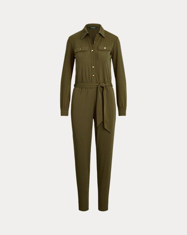 폴로 랄프로렌 Polo Ralph Lauren Buttoned Jersey Jumpsuit,Dark Sage