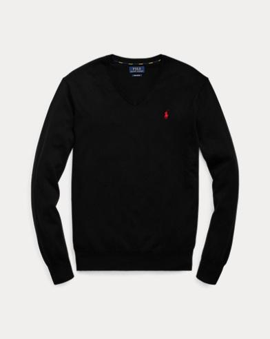 폴로 랄프로렌 맨 코튼 브이넥 스웨터 - 블랙 Polo Ralph Lauren Cotton V-Neck Sweater,Polo Black