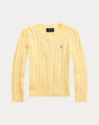 폴로 랄프로렌 여아용 가디건 Polo Ralph Lauren Cable-Knit Cotton Cardigan,Butter Cream