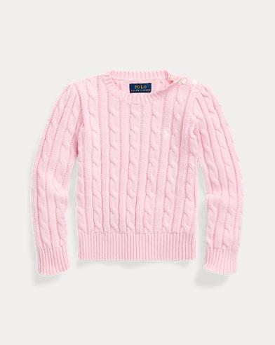 폴로 랄프로렌 여아용 스웨터 Polo Ralph Lauren Cable-Knit Cotton Sweater, Carmel Pink