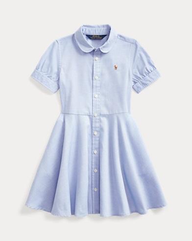 폴로 랄프로렌 여아용 코튼 옥스포드 반팔 셔츠원피스 - 블루 Polo Ralph Lauren Cotton Oxford Shirtdress