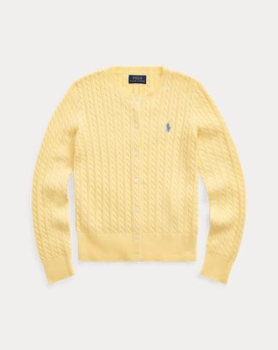 폴로 랄프로렌 걸즈 꽈배기 코튼 가디건 - 옐로우 Polo Ralph Lauren Cable-Knit Cotton Cardigan