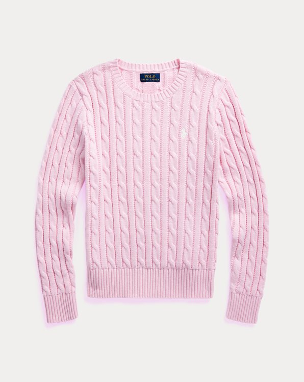 폴로 랄프로렌 걸즈 스웨터 Polo Ralph Lauren Cable-Knit Cotton Sweater,카멜 Carmel Pink