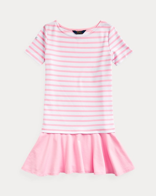 폴로 랄프로렌 걸즈 원피스 Polo Ralph Lauren Striped Stretch Ponte Dress,White-carmel Pink