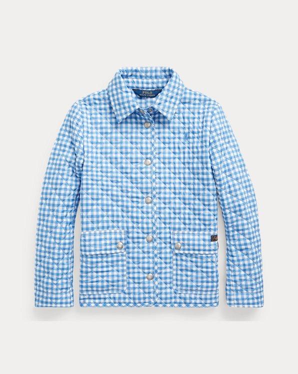 폴로 랄프로렌 걸즈 자켓 Polo Ralph Lauren Gingham Water-Repellent Jacket,Blue Multi