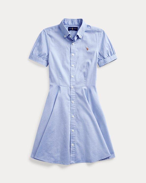 폴로 랄프로렌 걸즈 셔츠원피스 Polo Ralph Lauren Cotton Oxford Shirtdress,Blue Hyacinth