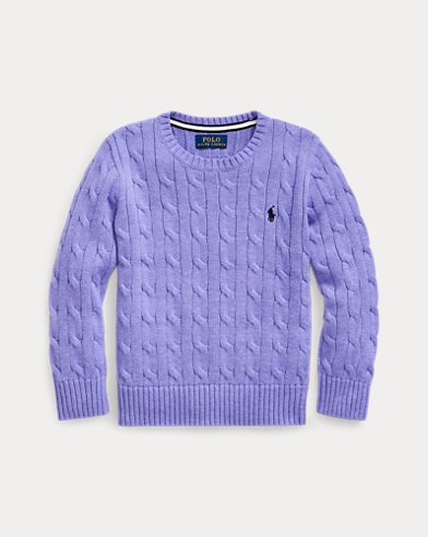 폴로 랄프로렌 남아용 스웨터 Polo Ralph Lauren Cable-Knit Cotton Sweater,Maidstone Purple Heather