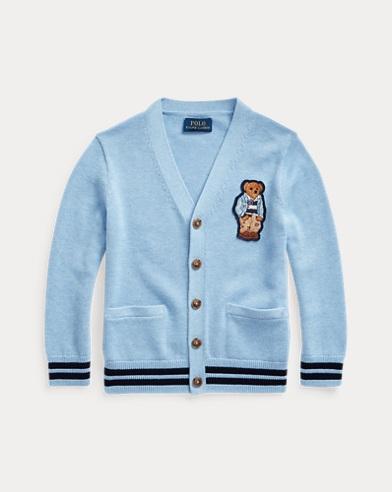 폴로 랄프로렌 남아용 가디건 Polo Ralph Lauren Preppy Bear Cotton Cardigan,Medium Blue Heather