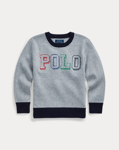 폴로 랄프로렌 남아용 스웨터 Polo Ralph Lauren Logo Cotton Sweater,Light Grey Heather