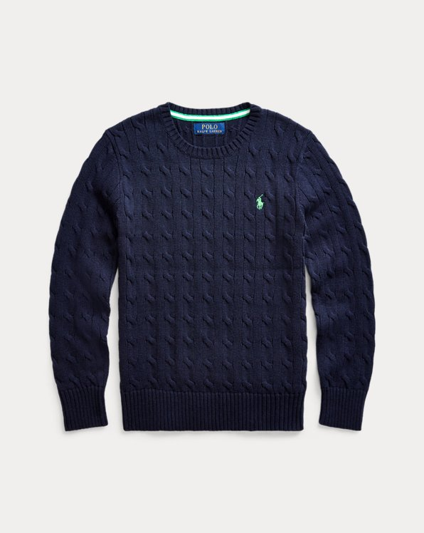 폴로 랄프로렌 보이즈 스웨터 Polo Ralph Lauren Cable-Knit Cotton Sweater,RL Navy