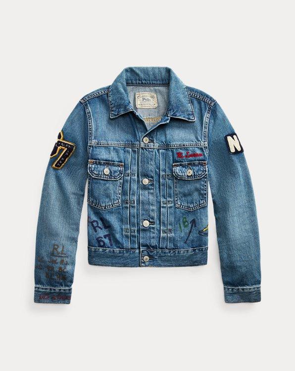 폴로 랄프로렌 보이즈 청자켓 Polo Ralph Lauren Denim Graphic Trucker Jacket,Vernan Wash