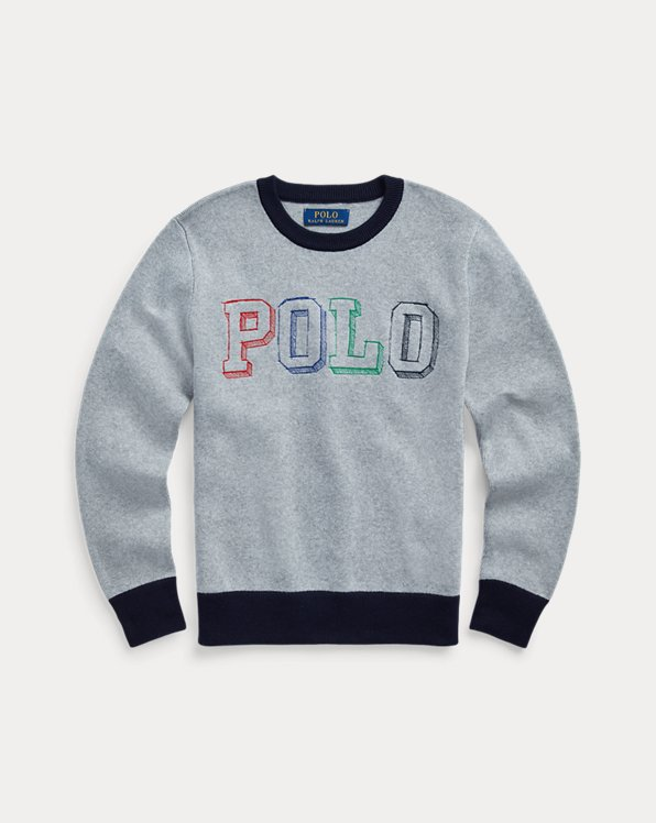 폴로 랄프로렌 보이즈 스웨터 Polo Ralph Lauren Logo Cotton Sweater,Light Grey Heather