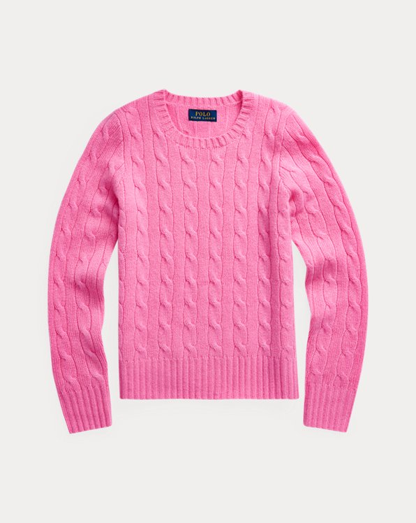폴로 랄프로렌 걸즈 꽈배기 니트 캐시미어 스웨터 Polo Ralph Lauren Cable-Knit Cashmere Sweater,Hammond Pink
