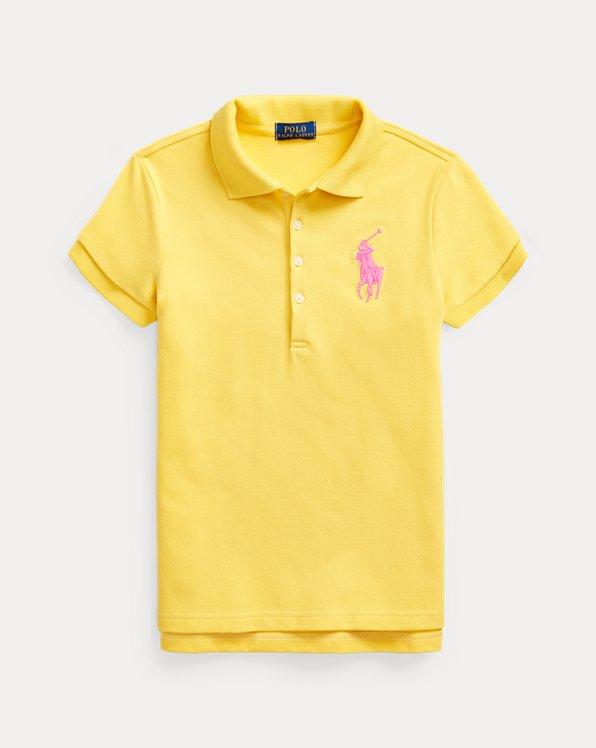 폴로 랄프로렌 걸즈 폴로 셔츠 Polo Ralph Lauren Big Pony Stretch Mesh Polo,Signal Yellow