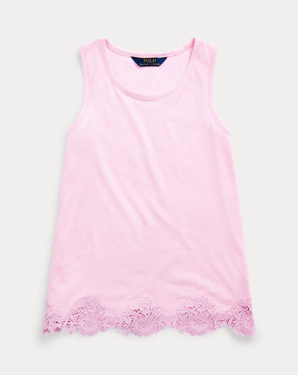 폴로 랄프로렌 걸즈 탱크 탑 Polo Ralph Lauren Lace Cotton-Modal Tank Top,Carmel Pink