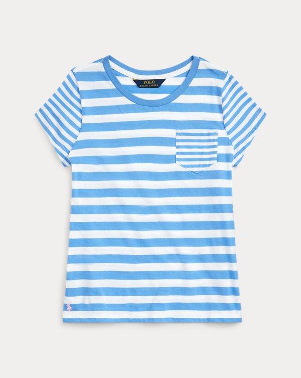 폴로 랄프로렌 걸즈 티셔츠 Polo Ralph Lauren Striped Cotton Jersey Tee,Harbor Island Blue/White